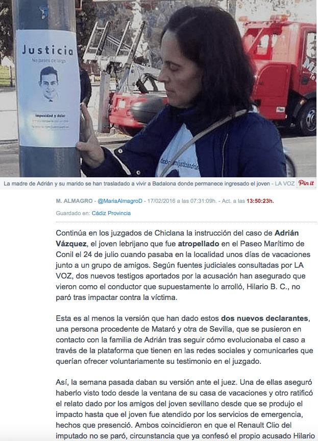 novedades en el caso Adrián Vázquez